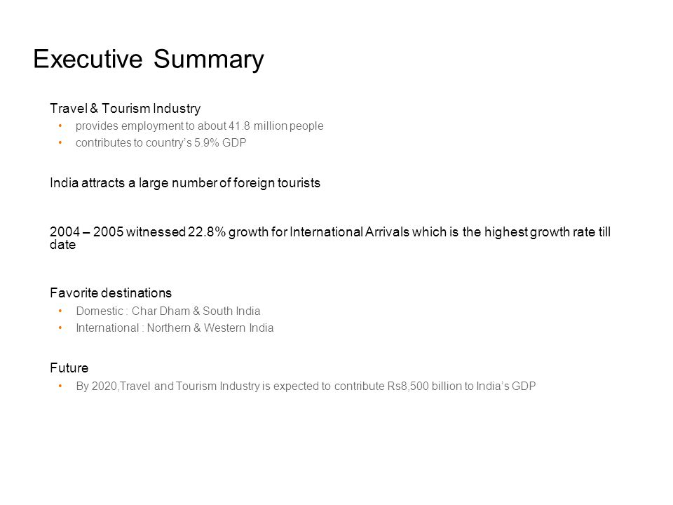 Executive Summary Travel & Tourism Industry