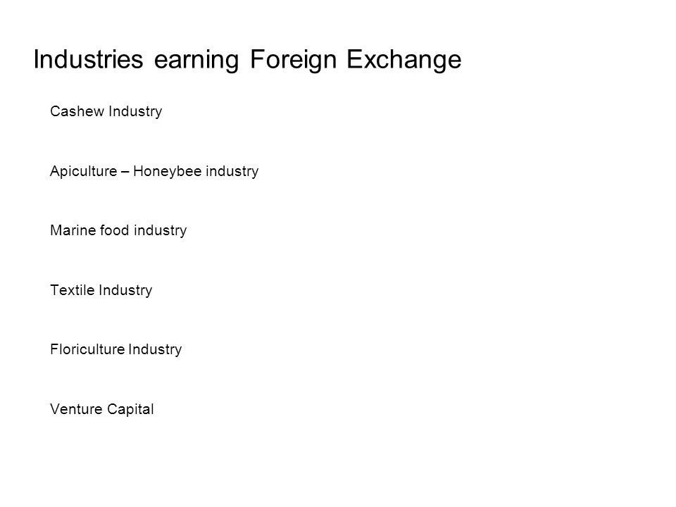 Industries earning Foreign Exchange