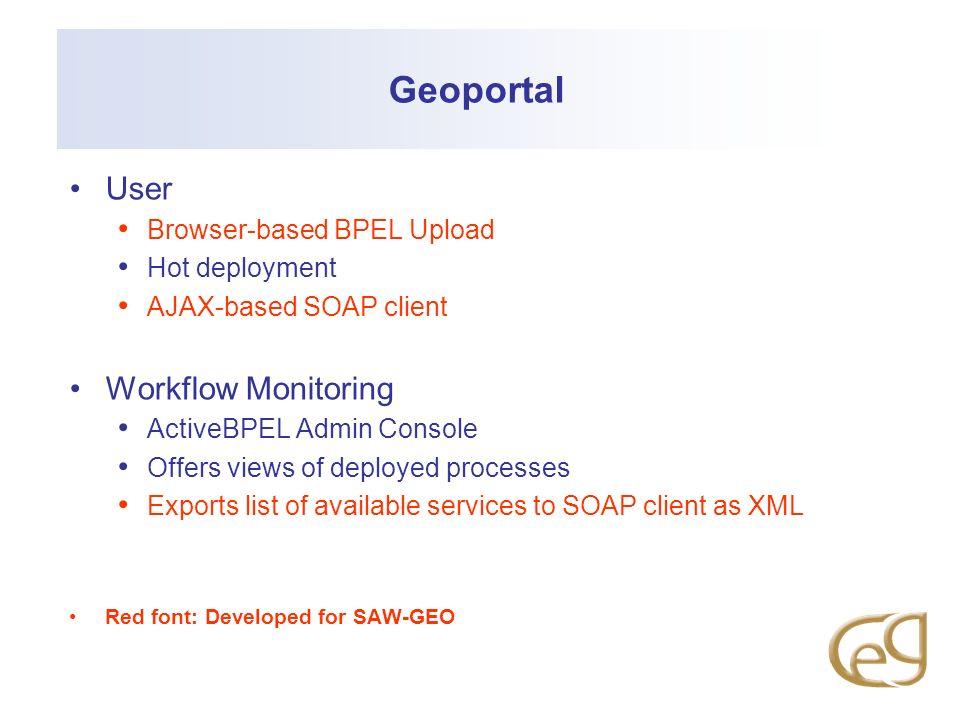 Geoportal User Workflow Monitoring Browser-based BPEL Upload