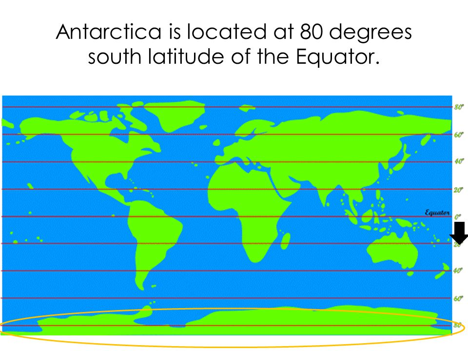 Antarctica is located at 80 degrees south latitude of the Equator.