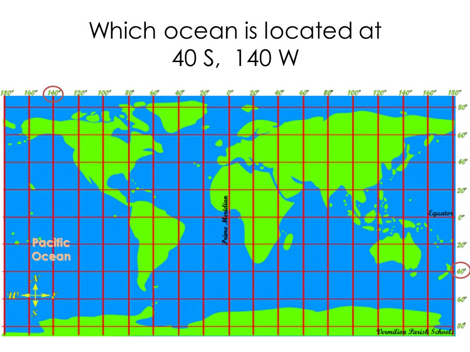 Which ocean is located at 40 S, 140 W