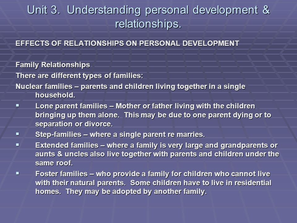 identify the different relationships children may have It is common and normal for two parents to have different chronic parental conflict harmful to children the children 7 parent-child relationships may.