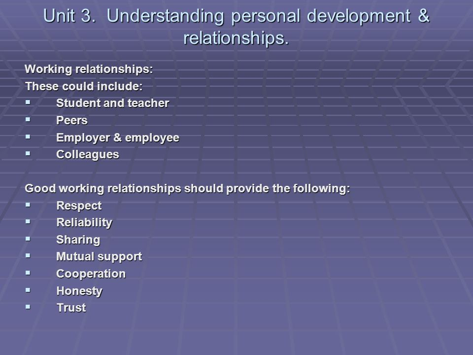 ilm understanding and developing relationships in the workplace Assignment task for unit: developing the work team  this task is for you to develop an understanding of how you could develop your team as required by a .