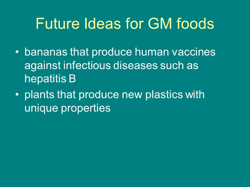 Future Ideas for GM foods