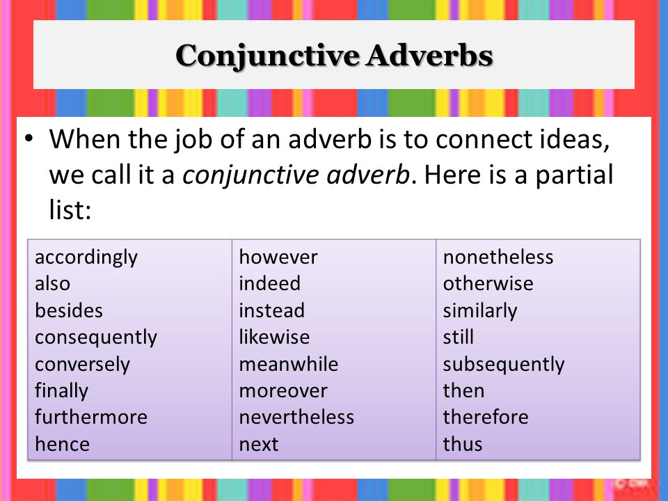 conjunctive adverbs list and their meanings pdf