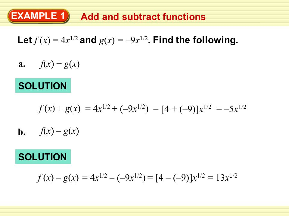 EXAMPLE 1 Add and subtract functions - ppt download