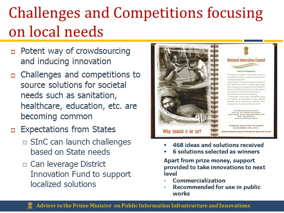 Challenges and Competitions focusing on local needs