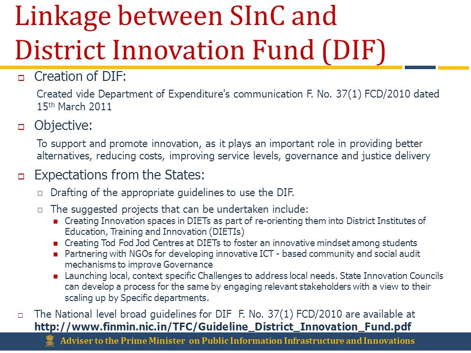 Linkage between SInC and District Innovation Fund (DIF)
