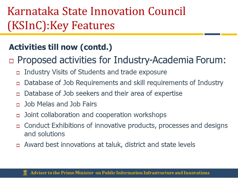 Karnataka State Innovation Council (KSInC):Key Features