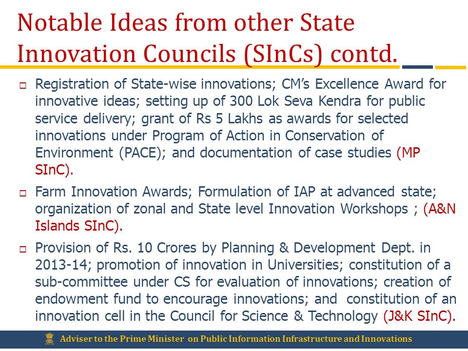 Notable Ideas from other State Innovation Councils (SInCs) contd.