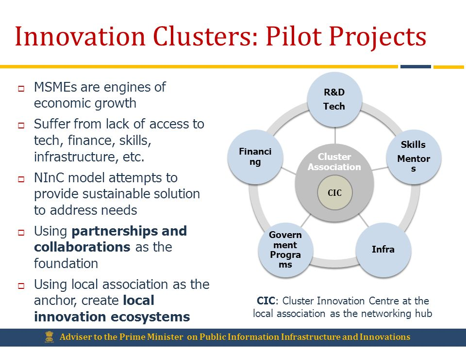 Innovation Clusters: Pilot Projects