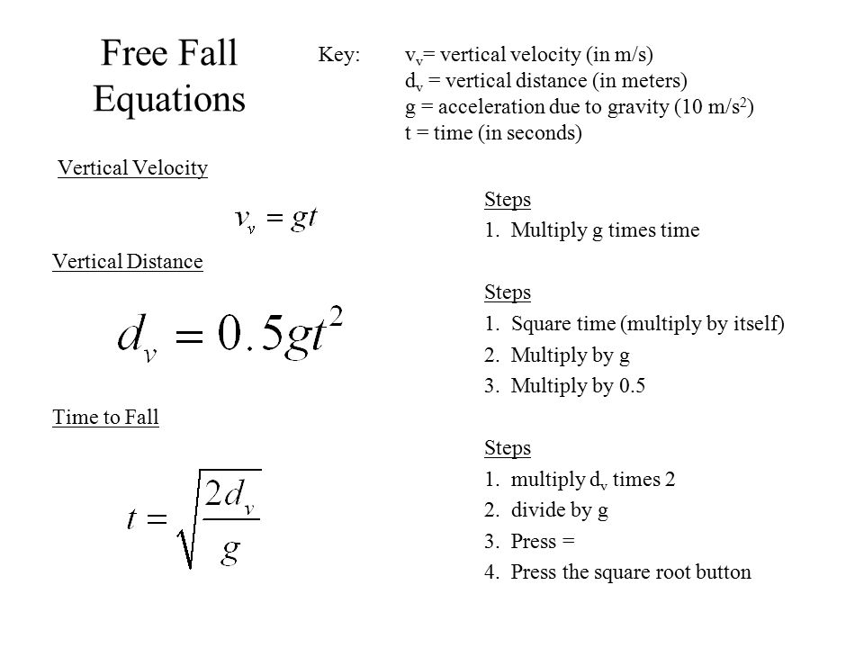 Free Fall Equations Key: vv= vertical velocity (in m/s)