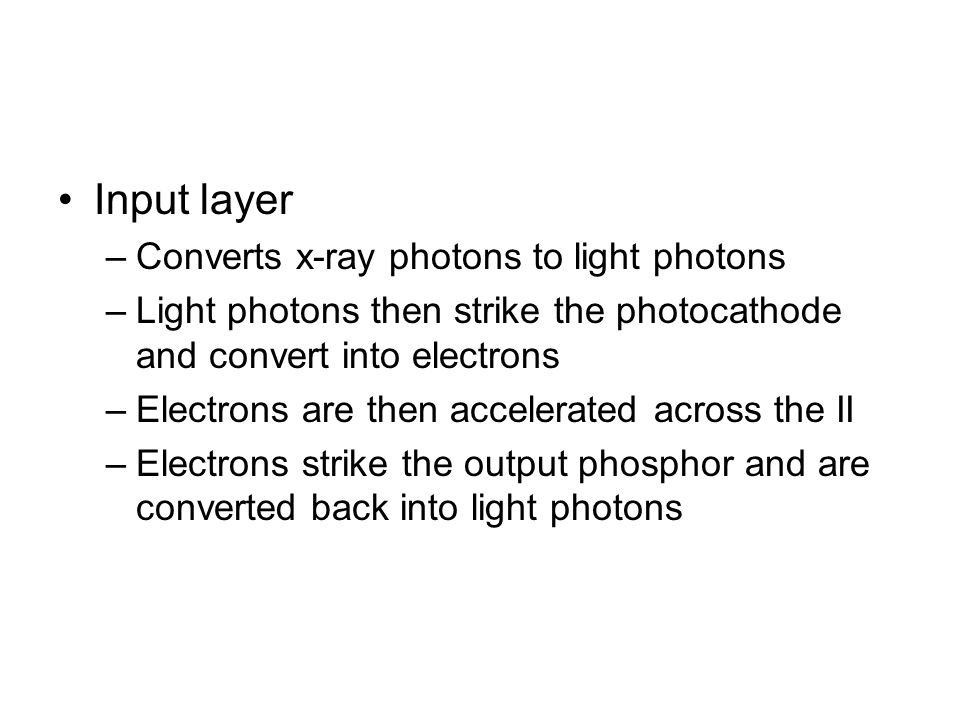 Angiography x ray and output phosphor