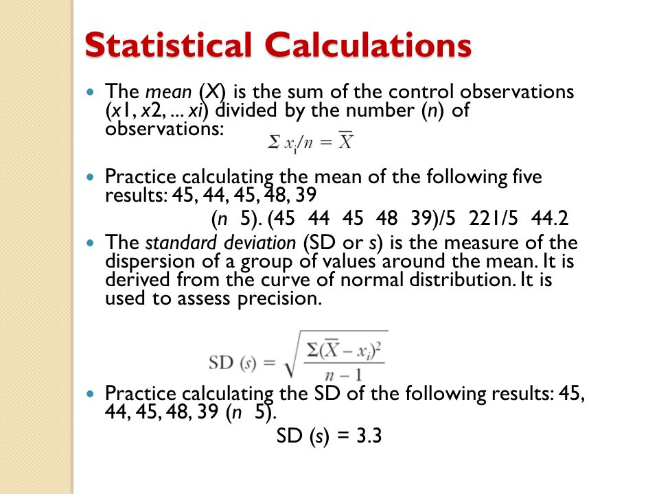 Statistical Calculations