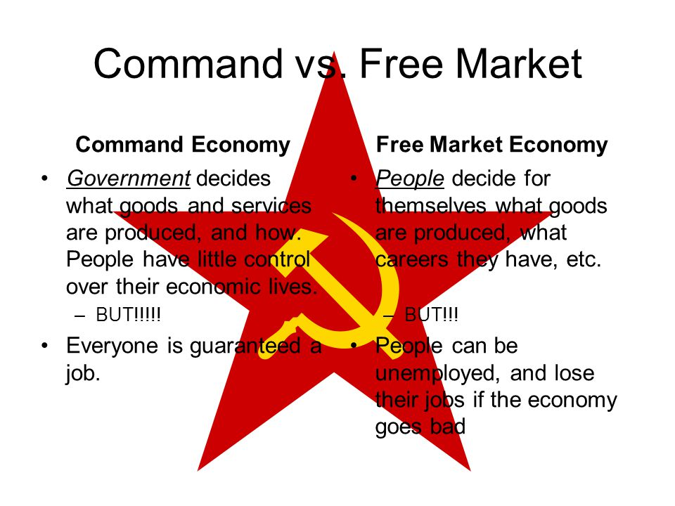 free market vs command economy Market economy vs command economy essay  the characteristic of a market economics is that self-interest is the motivating force in the free market, self .