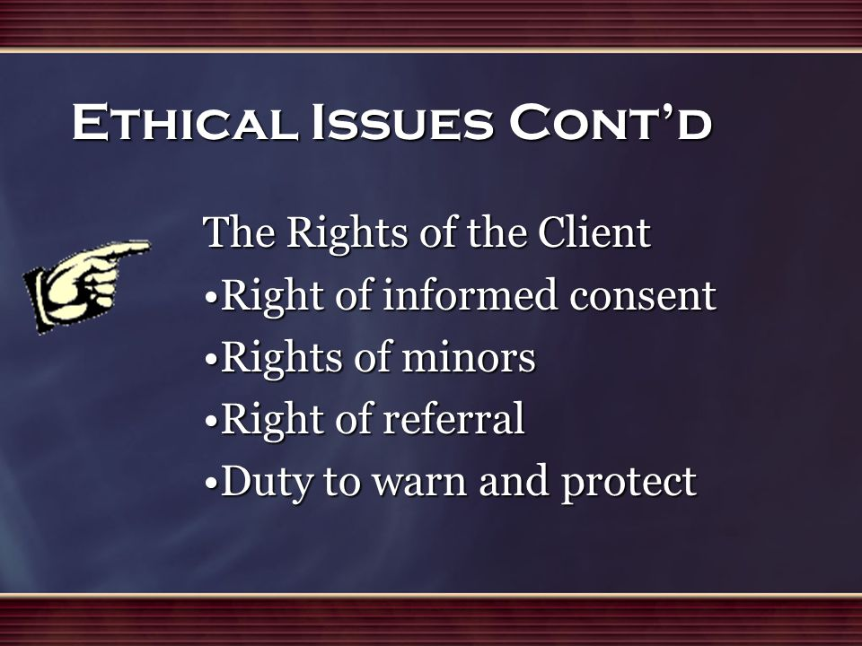 the ethical issue of informed consent in nursing The mu center for health ethics seeks to address difficult moral issues through dialogue across multiple related disciplines and in the broader academic and public community our mission to improve the health of the public through the development of patient-centered programs related to ethics and professionalism in education, research, clinical.