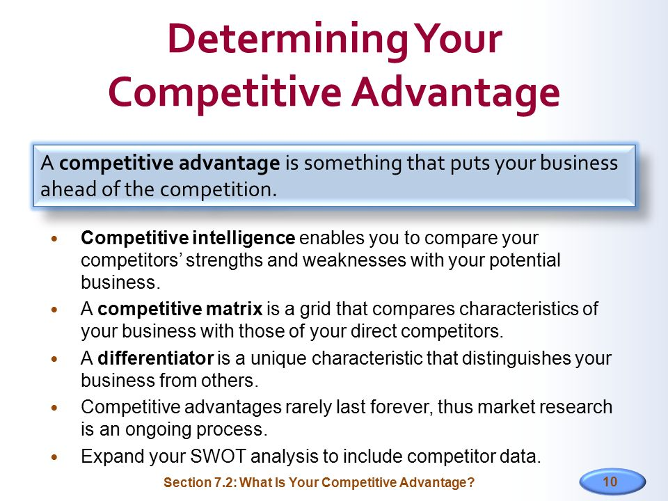 Determining Your Competitive Advantage