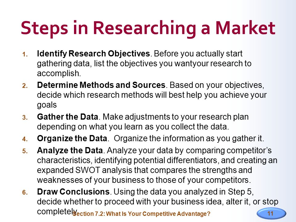 Steps in Researching a Market