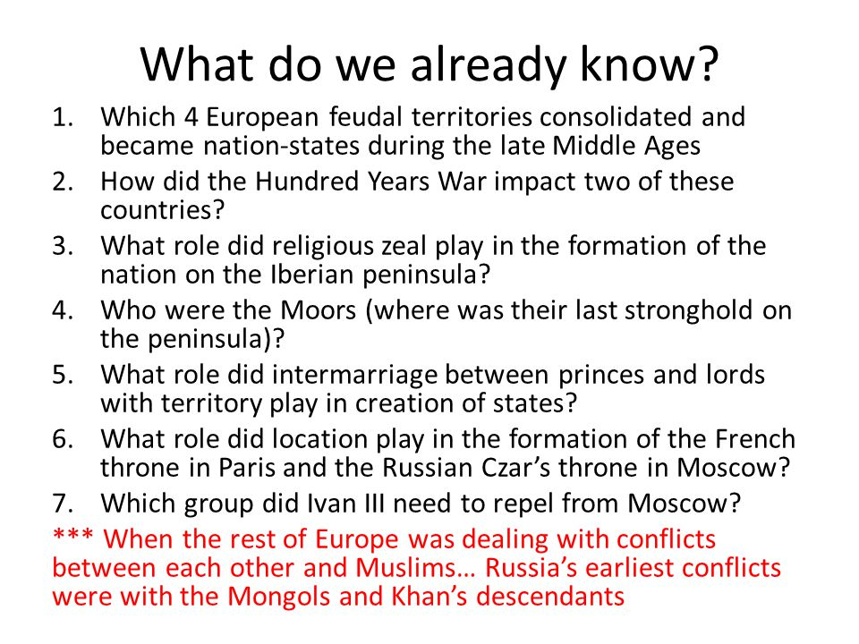 What do we already know Which 4 European feudal territories consolidated and became nation-states during the late Middle Ages.