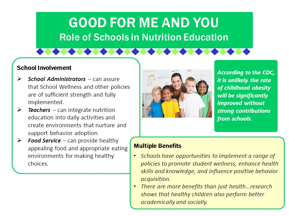 nutrition and positive environment A nutrition and healthy eating policy should explain your early childhood service's goals and procedures regarding healthy eating, providing a nutritious food service and creating a healthy and positive mealtime environment.