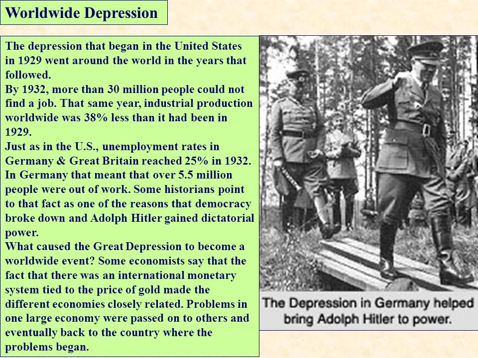 The Great Depression The economy was in severe decline ...