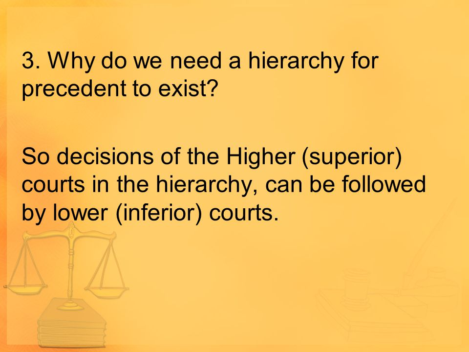 3. Why do we need a hierarchy for precedent to exist