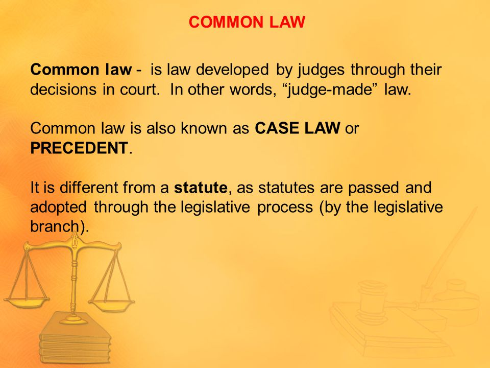 COMMON LAW Common law - is law developed by judges through their decisions in court. In other words, judge-made law.