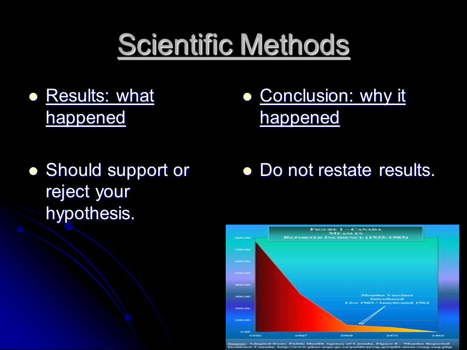 Scientific Methods Results: what happened