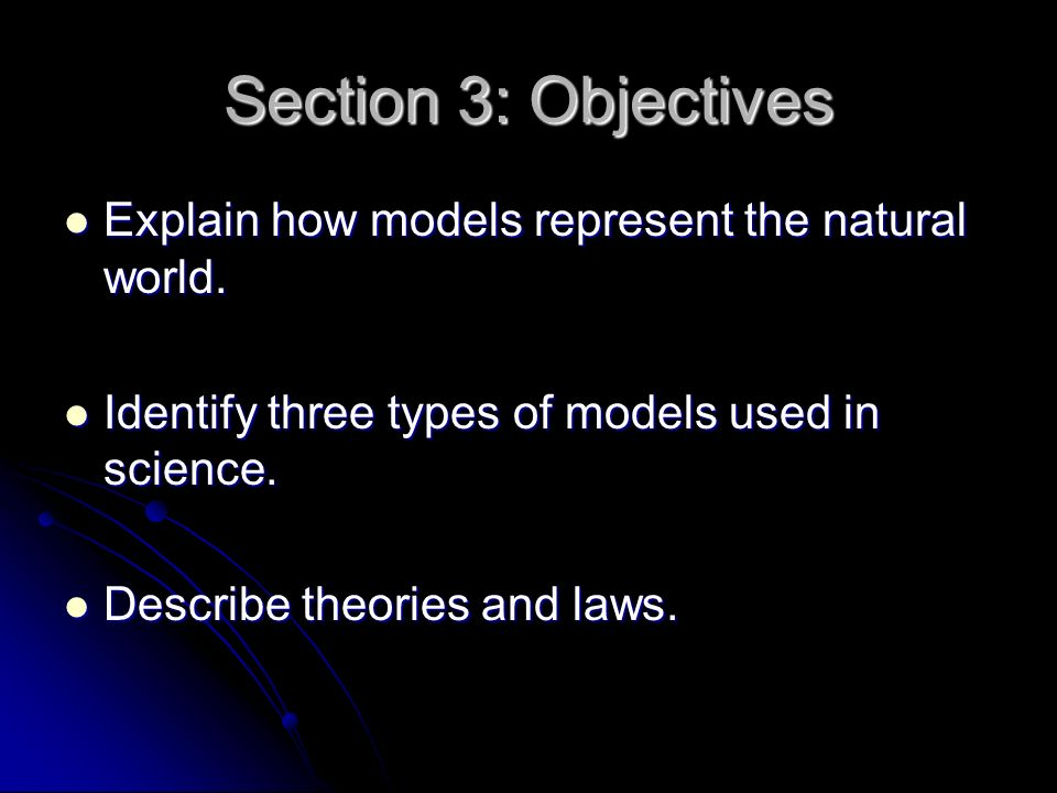 Section 3: Objectives Explain how models represent the natural world.