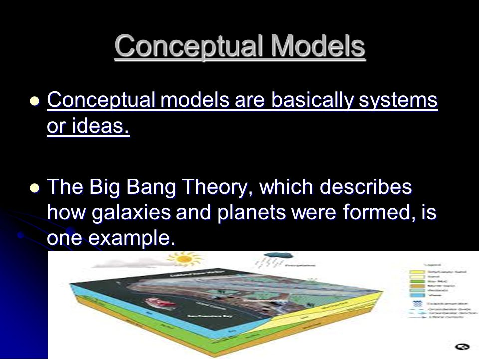 Conceptual Models Conceptual models are basically systems or ideas.