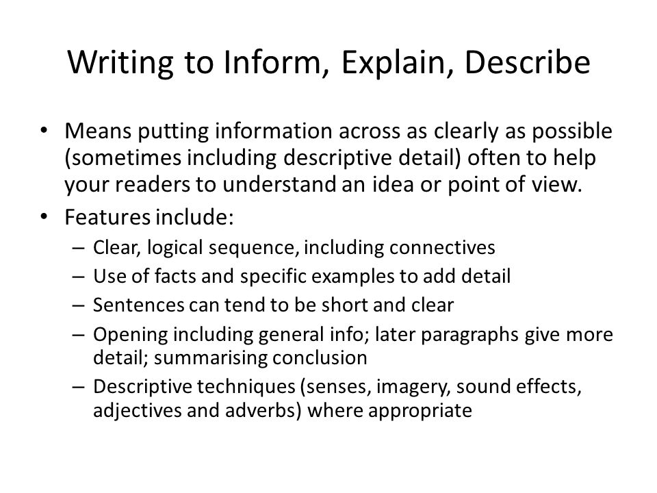 GCSE: Writing to Inform, Explain and Describe