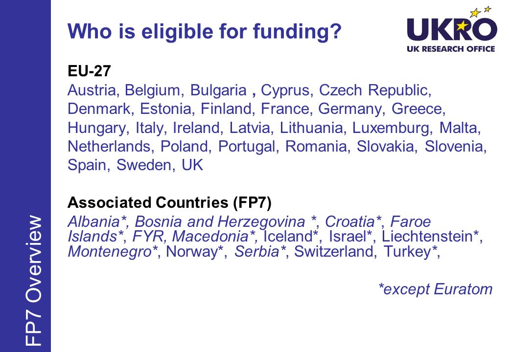 Who is eligible for funding