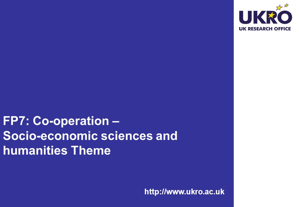 FP7: Co-operation – Socio-economic sciences and humanities Theme