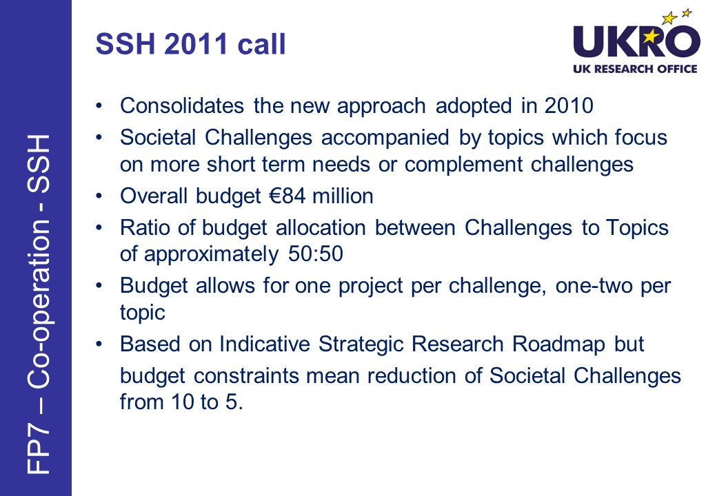 SSH 2011 call FP7 – Co-operation - SSH