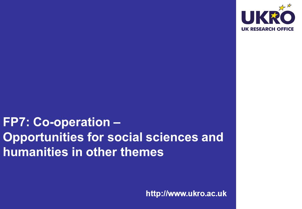 FP7: Co-operation – Opportunities for social sciences and humanities in other themes