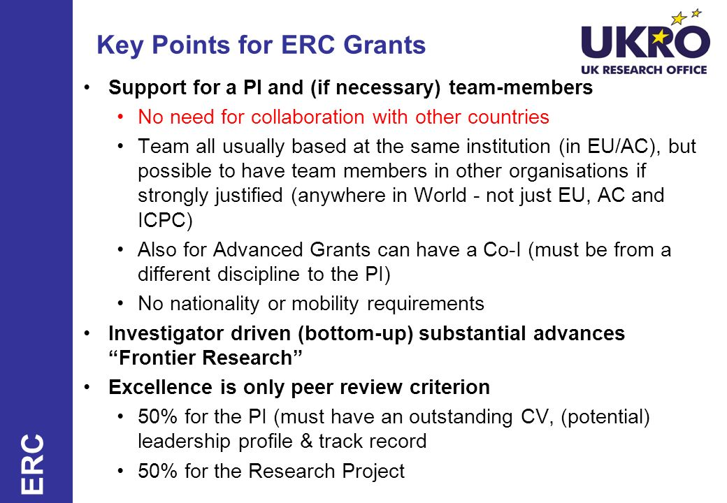 Key Points for ERC Grants