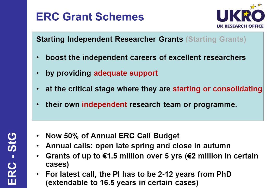 ERC Grant Schemes ERC - StG