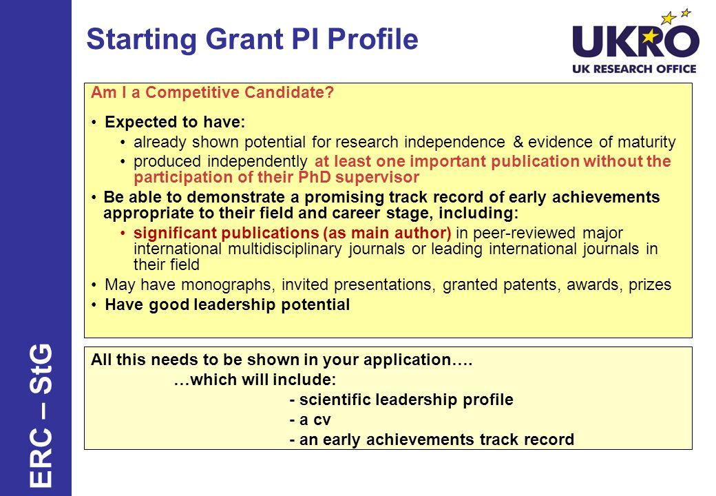 Starting Grant PI Profile
