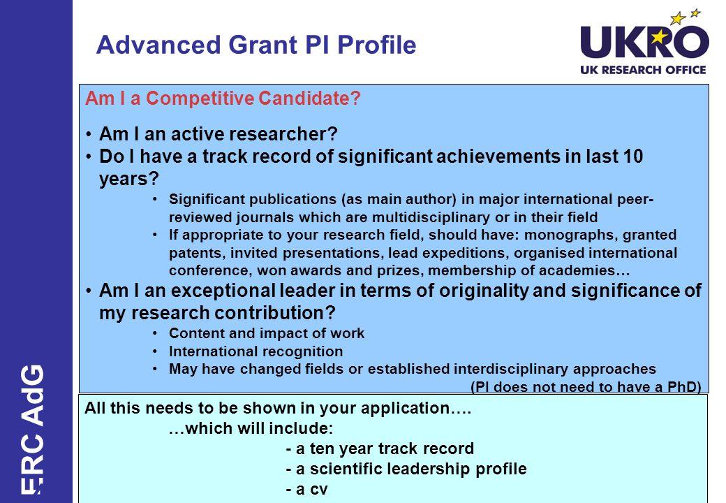 Advanced Grant PI Profile