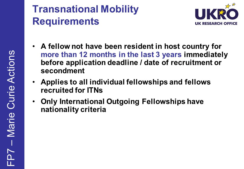 Transnational Mobility Requirements