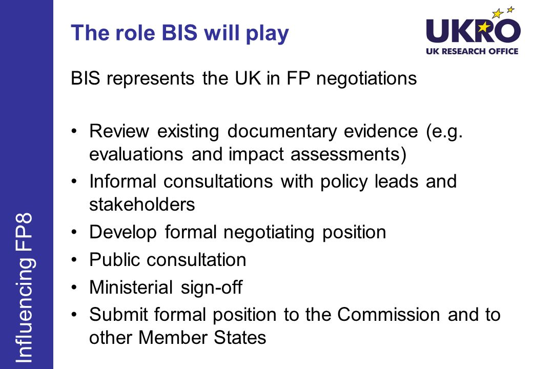 The role BIS will play Influencing FP8