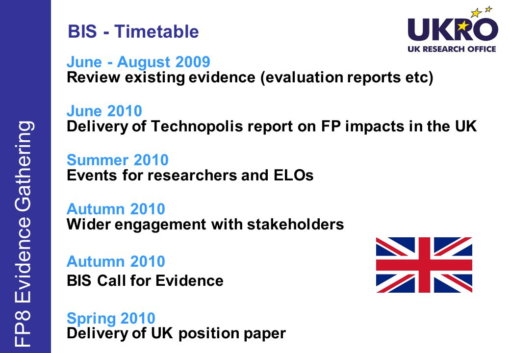 FP8 Evidence Gathering BIS - Timetable