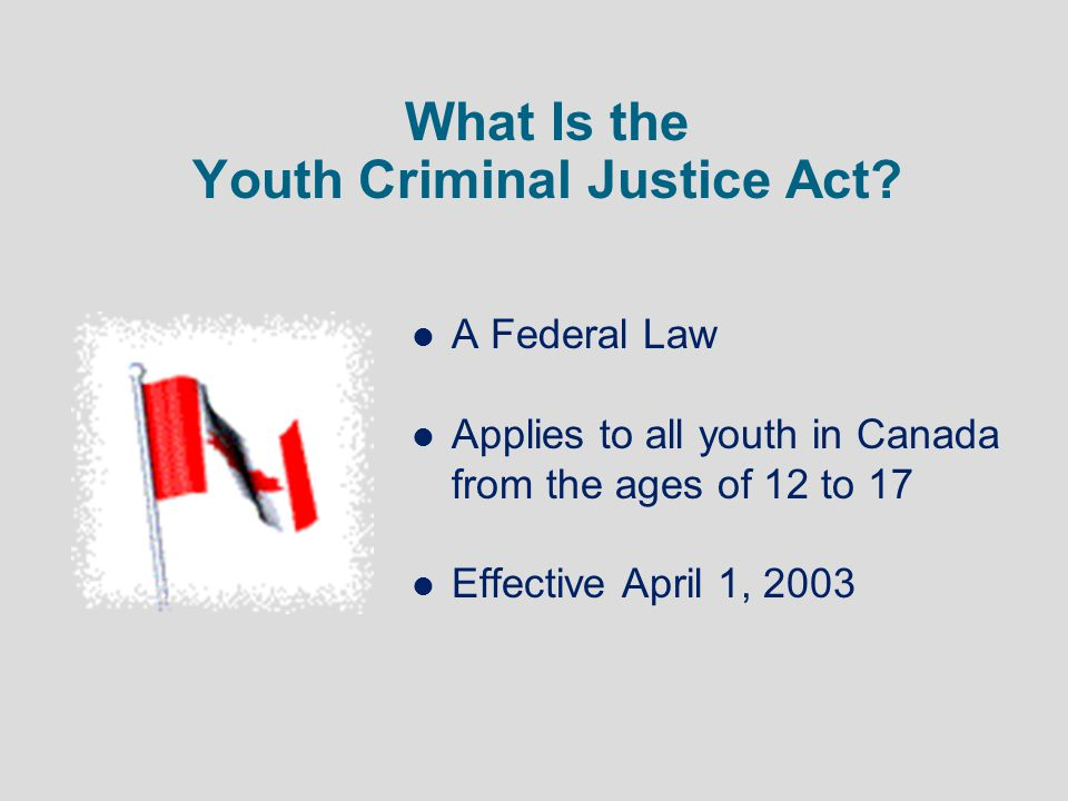 What Is the Youth Criminal Justice Act