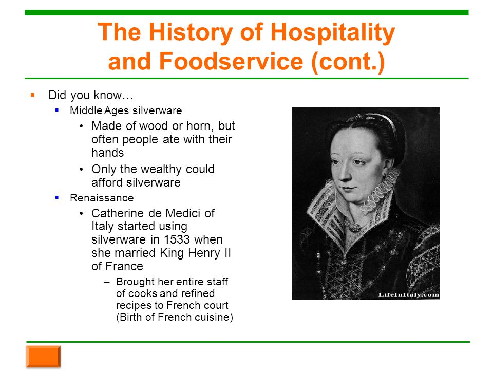 Chapter 1 welcome to the restaurant and foodservice - The history of french cuisine ...