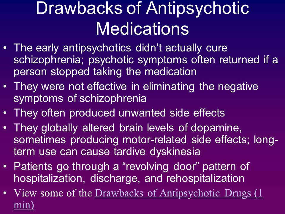 an overview of the causes and effects of schizophrenia The main support for the theory that too much dopamine causes schizophrenia is the fact that antipsychotic medications, which are used to treat schizophrenia, block dopamine receptors the medications are designed to bind to dopamine receptors in the brain, and their effects have helped many people cope with symptoms.