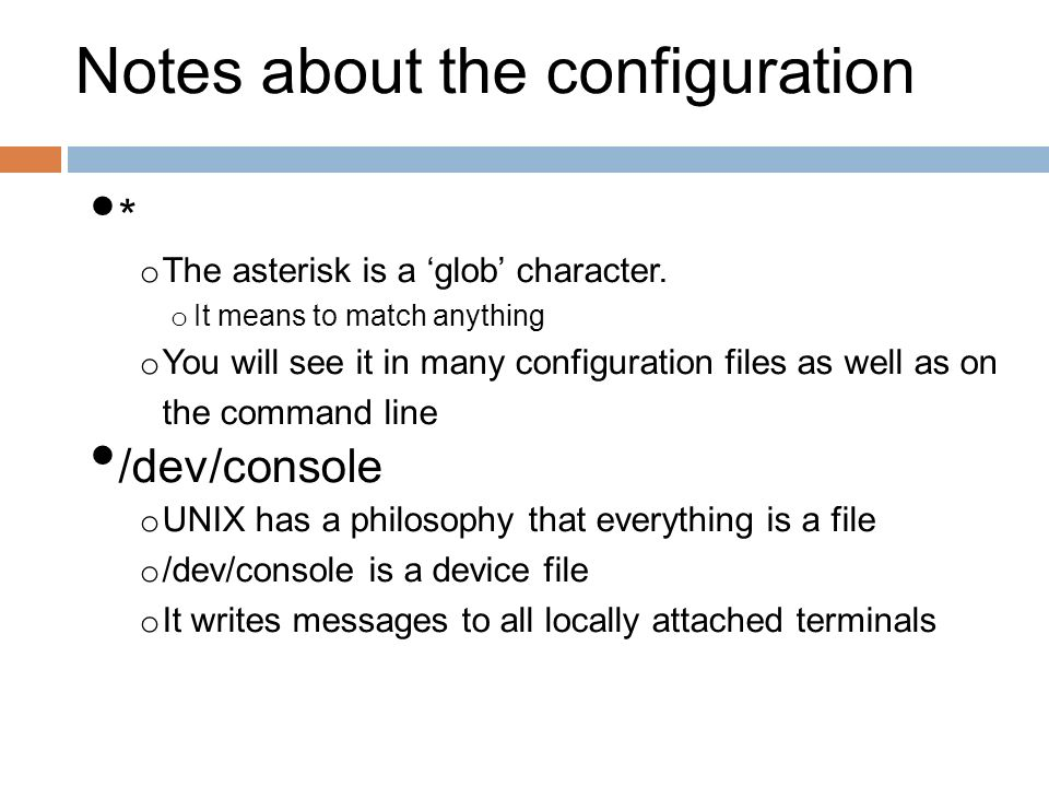 Notes about the configuration