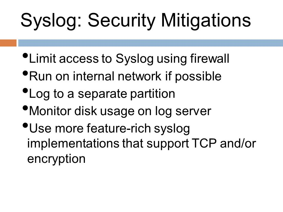 Syslog: Security Mitigations