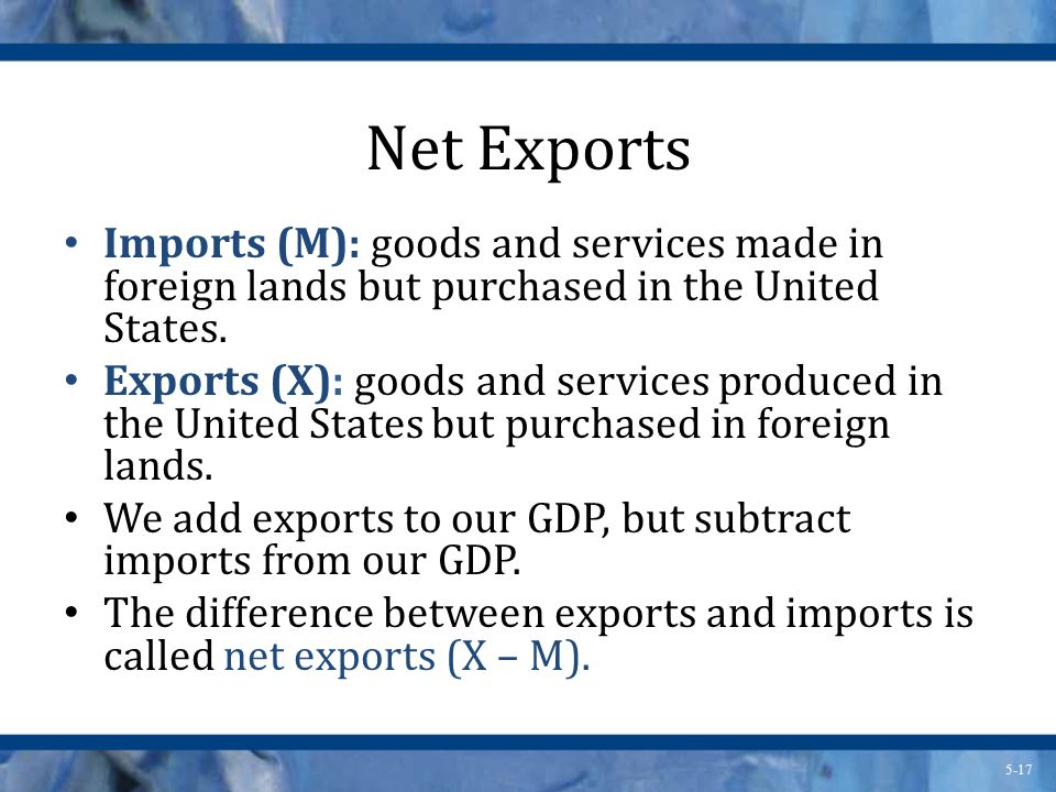 Net Exports Imports (M): goods and services made in foreign lands but purchased in the United States.