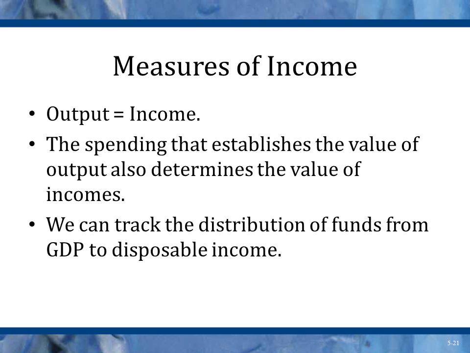 Measures of Income Output = Income.