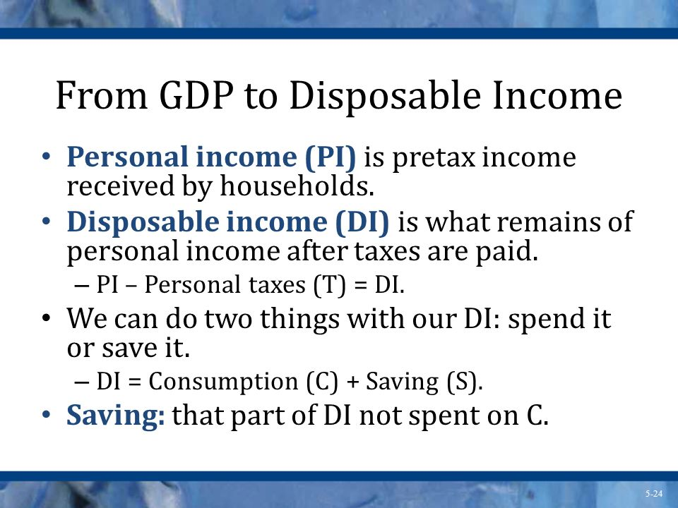 From GDP to Disposable Income